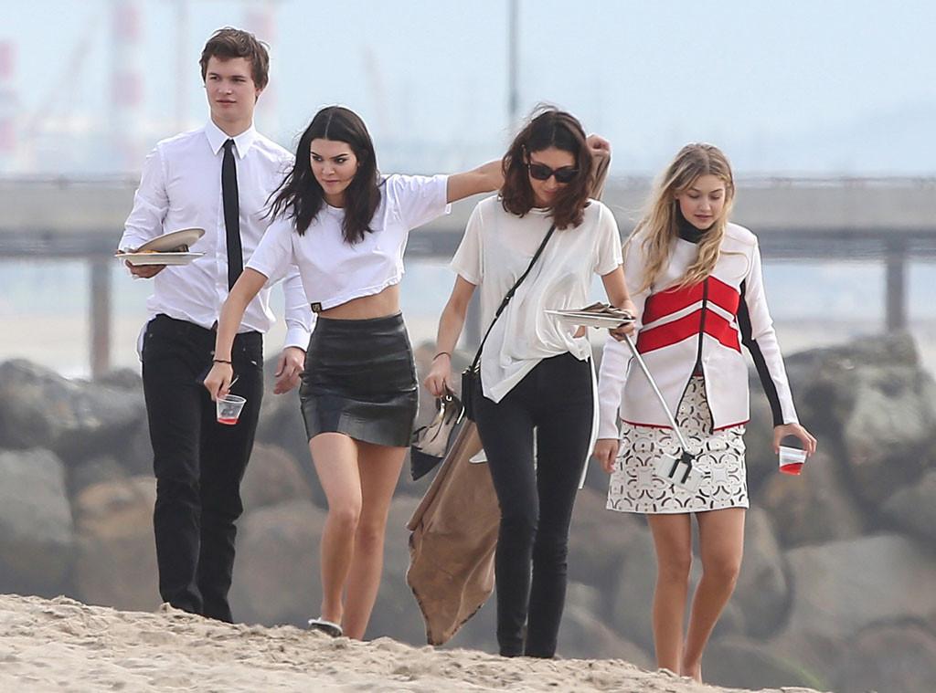 Kendall Jenner, Bella Hadid, Gigi Hadid, Ansel Elgort