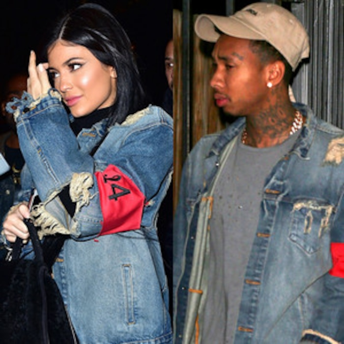 0a18b7e577 Kylie Jenner Borrows Boyfriend Tyga s 424 Distressed Denim Jacket—Who Wore  It Better