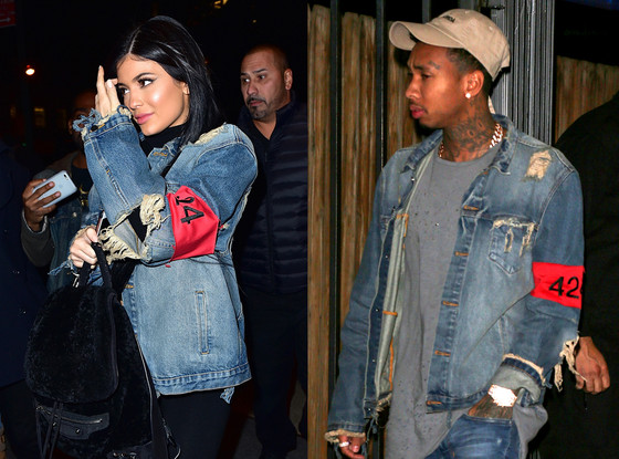 951ef7ced7 Kylie Jenner Borrows Boyfriend Tyga s 424 Distressed Denim Jacket—Who Wore  It Better