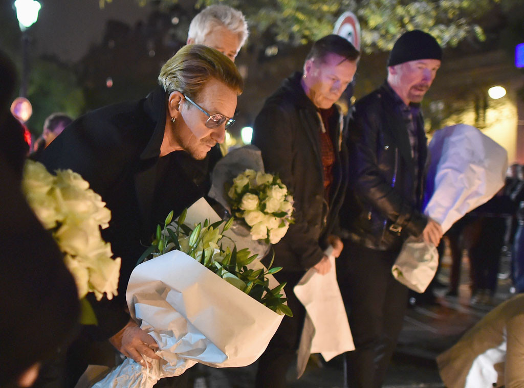 U2, Bono, The Edge, Larry Mullen Jr., Adam Clayton, Paris Attacks Tribute