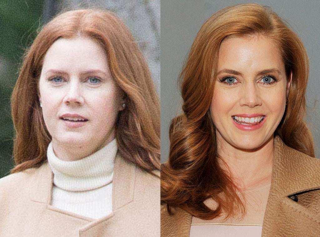 Amy Adams -  The redheaded actress softened up her look sans makeup while on set for an upcoming flick.
