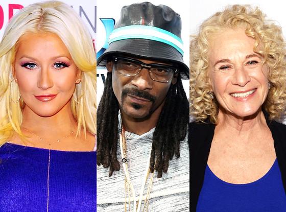 Christina Aguilera, Snoop Dogg, Carole King