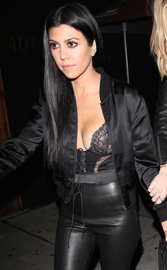 Kourtney kardashian shows a bit too much skin at kendall