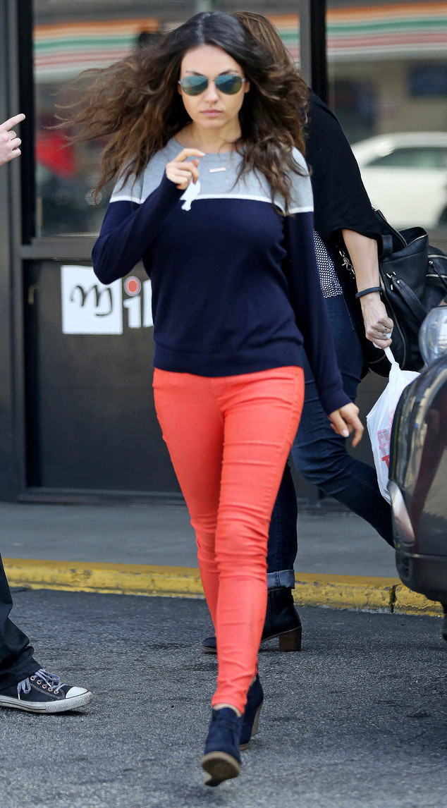 Mila Kunis Rocks Red Skinny Jeans 4 Months After Giving