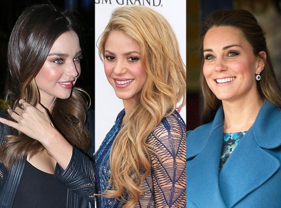 Shakira, Miranda Kerr, Kate Middleton