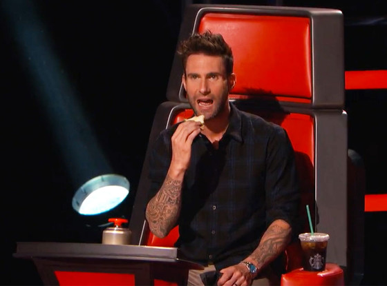 The Voice: Watch Adam Levine Get Adorably Busted For Sneaking a Snack in These Hilarious Outtakes