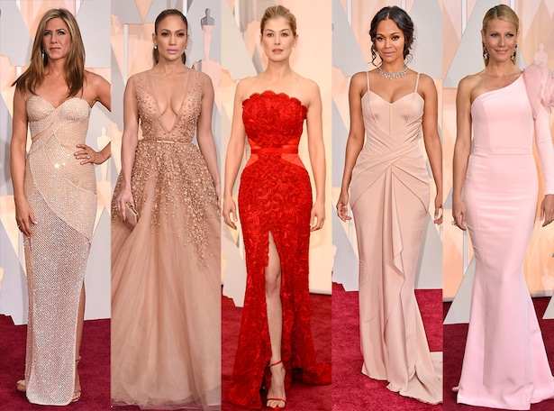 Best Dresses, Jennifer Aniston, Jennifer Lopez, Rosamund Pike, Zoe Saldana, Gwyneth Paltrow, 2015 Academy Awards Oscars