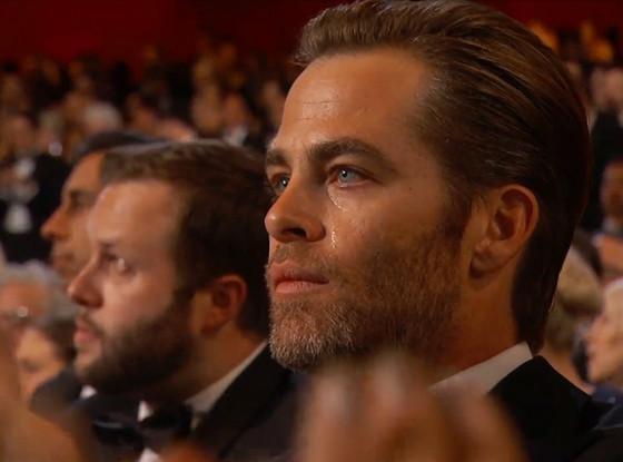 Chris Pine, Oscars, Crying, Epic Award Show Reactions