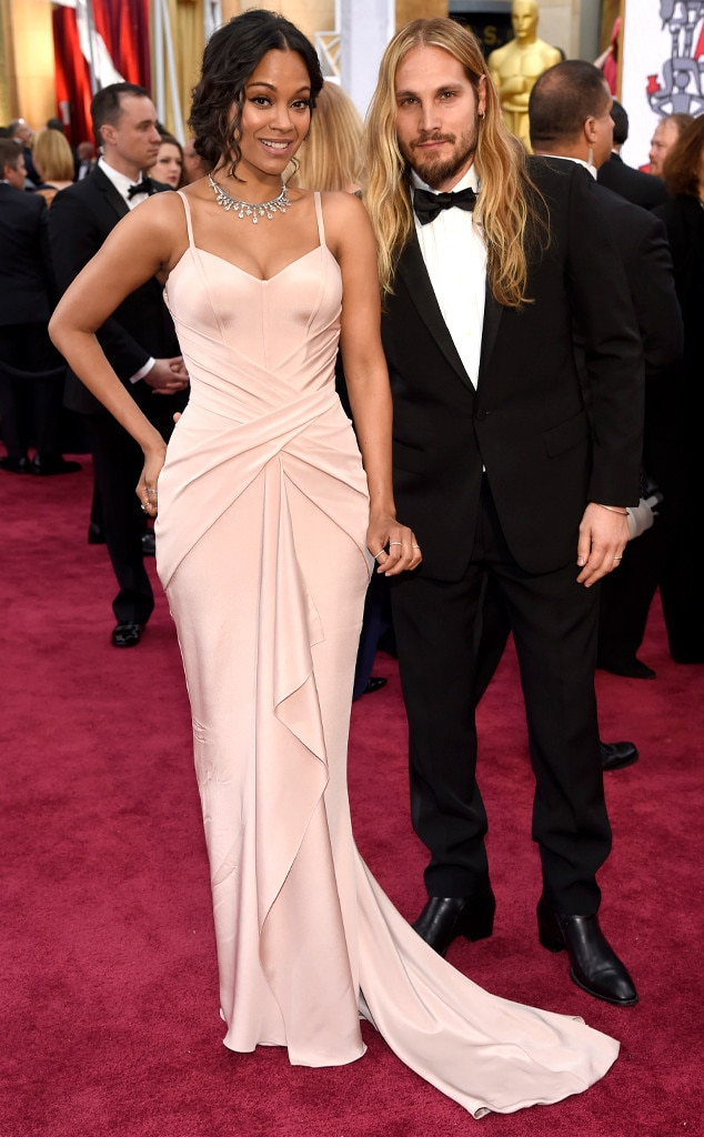 Zoe Saldana Amp Marco Perego From 2015 Oscars Red Carpet