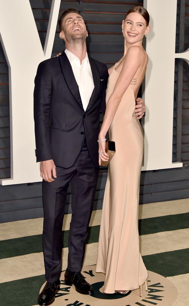Adam Levine, Behati Prinsloo, Vanity Fair Oscar Party