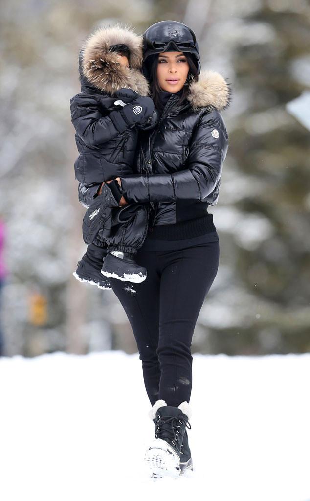 Kim Kardashian, North West, Skiing