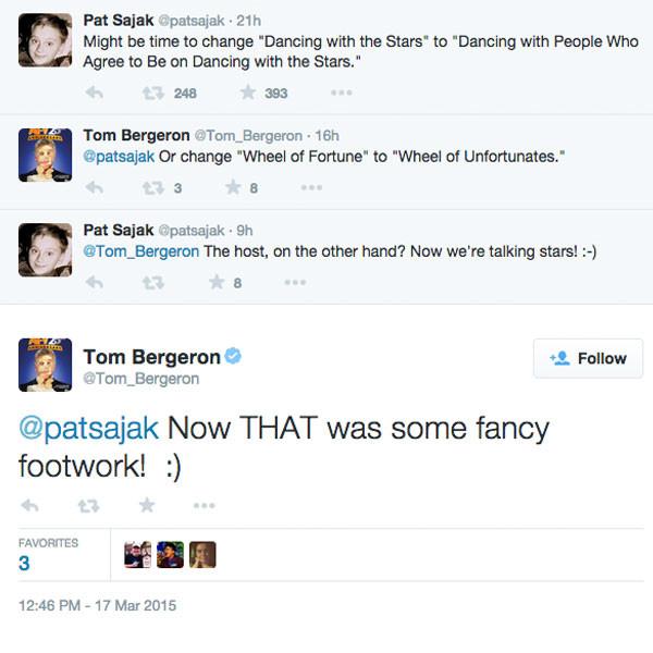 Tom Bergeron, Pat Sajak, Twitter Conversation