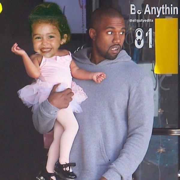 Miley Cyrus, North West, Kanye West