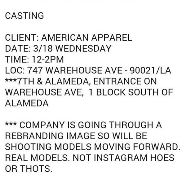 American Apparel, Casting Email