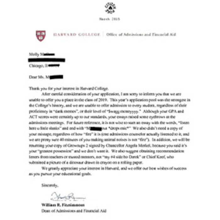 This Amazing Harvard Rejection Letter Is Fake, but We Would