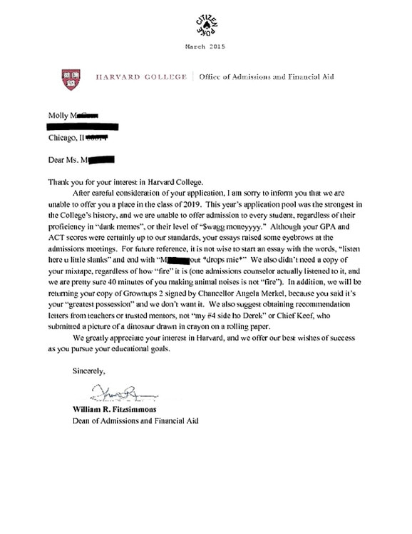 when do colleges send acceptance letters this amazing harvard rejection letter is but we 25618 | rs 578x749 150305094408 634 harvard rejection letter