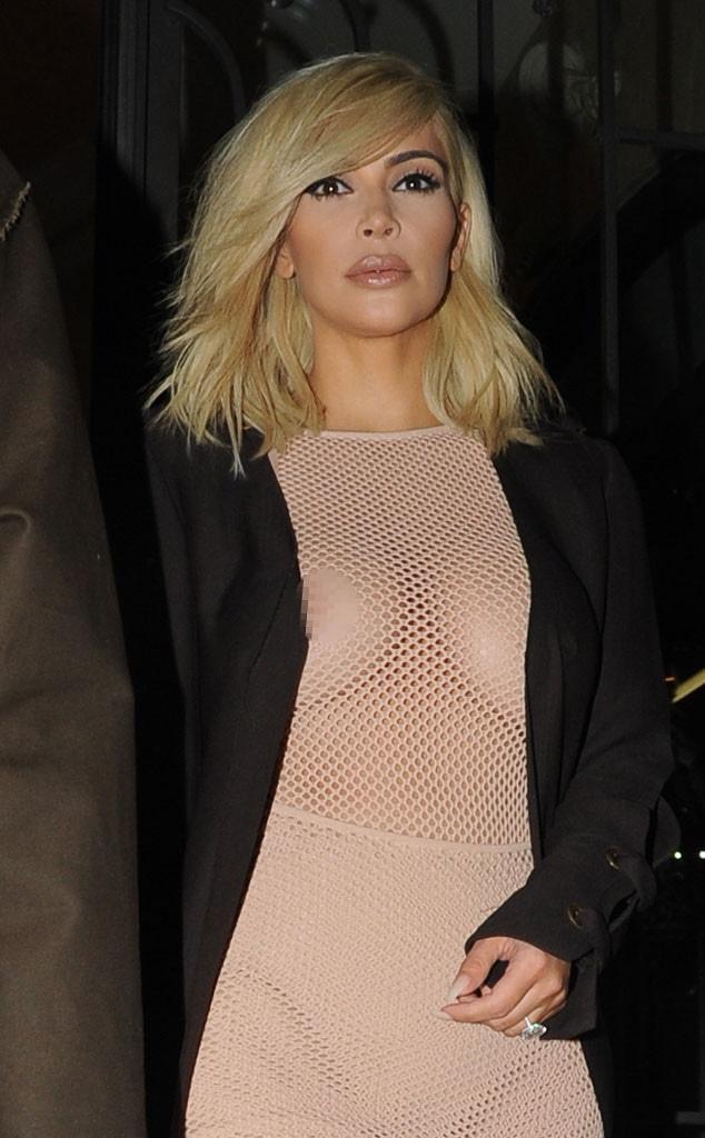 Kim Kardashian blonde: Star flashes nipple AND underwear