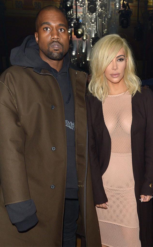 Kanye West, Kim Kardashian, Braless