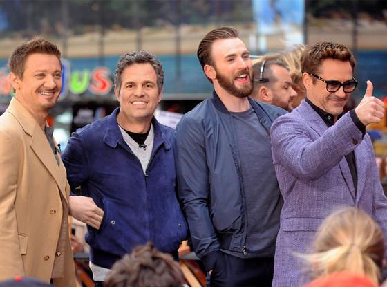 Cast of Avengers, Robert Downey Jr., Chris Evans, Mark Ruffalo, Jeremy Renner
