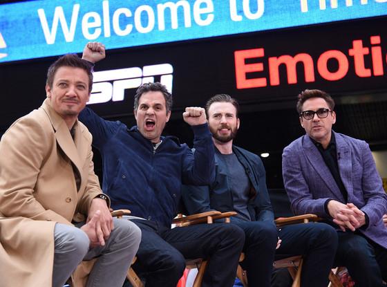 Robert Downey Jr. (Iron Man), Chris Evans (Captain America), Mark Ruffalo (The Hulk) and Jeremy Renner