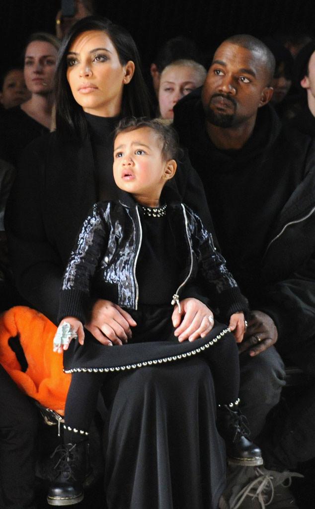 Kim Kardashian, North West, Kanye West, 2015, Celeb Kids Front Row, Fashion Week