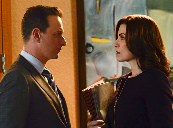 Julianna Margulies, Josh Charles, The Good Wife set