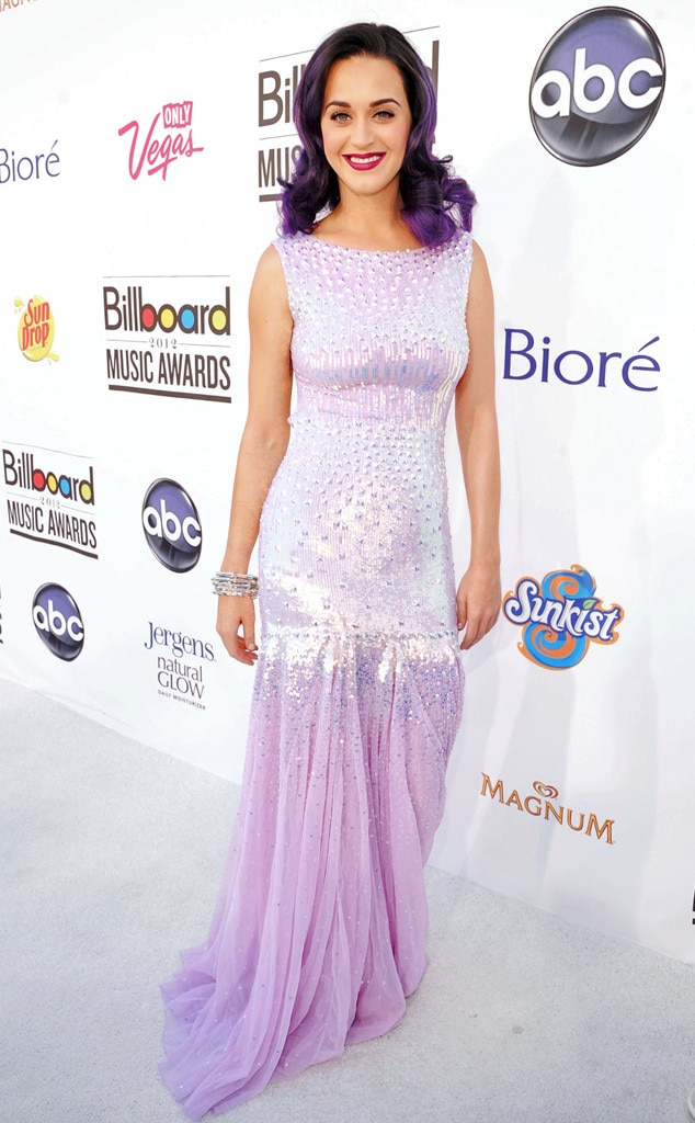 "Katy Perry -  In 2012, the pop star envisioned a ""Teenage Dream"" with this lavender Blumarine gown."