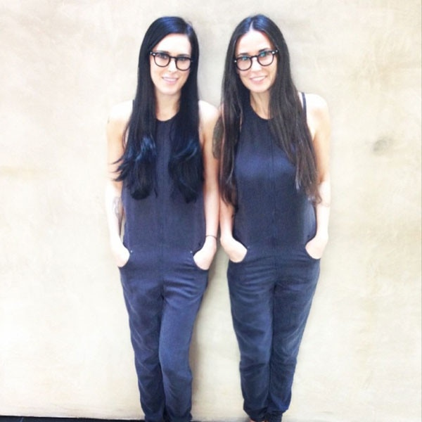 """Rumer Willis & Demi Moore -  With their matching jumpsuits, sleek hair and glasses, the two look more like twins than mother and daughter! """"That moment when you realize you actually are becoming your mother #twinning #imnotmad,"""" Willis  joked  on Instagram."""