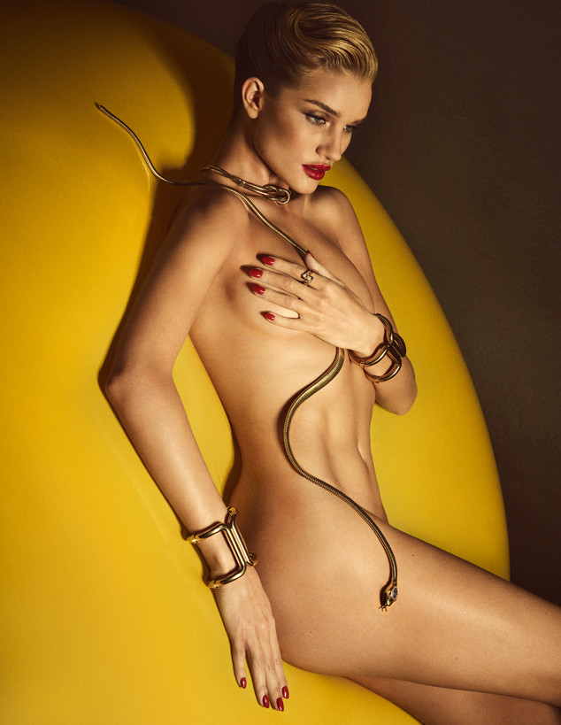 Rosie Huntington Whiteley Is Naked And Not Afraid Of Snakes In Sexy Lui Magazine Spread