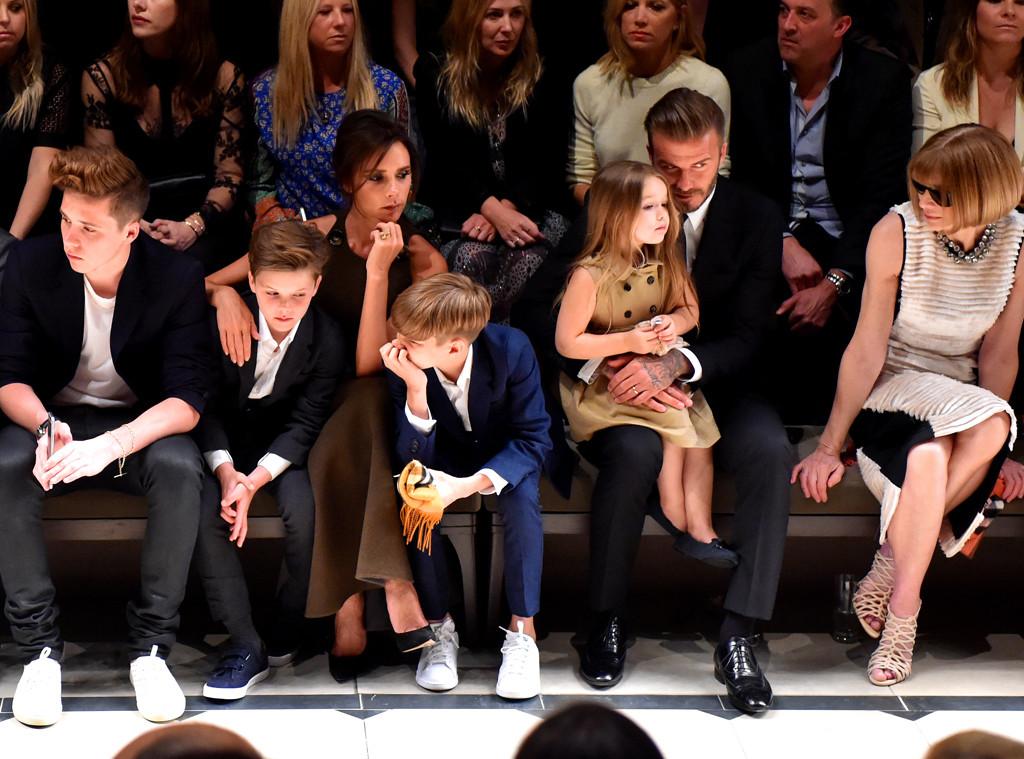 Brooklyn Beckham, Cruz Beckham, Victoria Beckham, Romeo Beckham, Harper Beckham, David Beckham, Anna Wintour