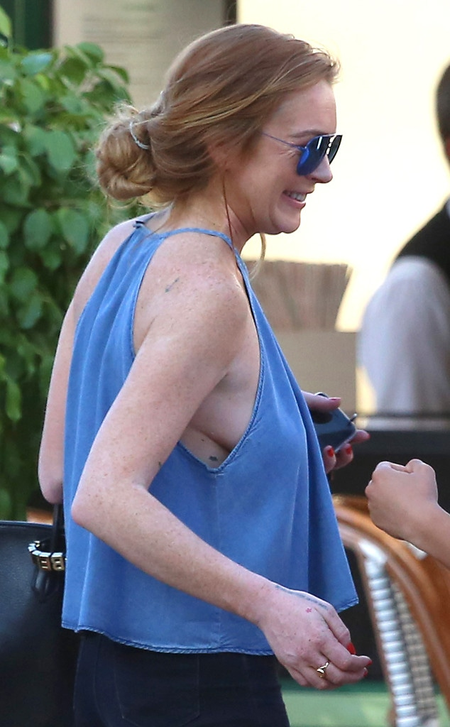 Lindsay Lohan Goes Braless and Flashes Side Boob in Monaco
