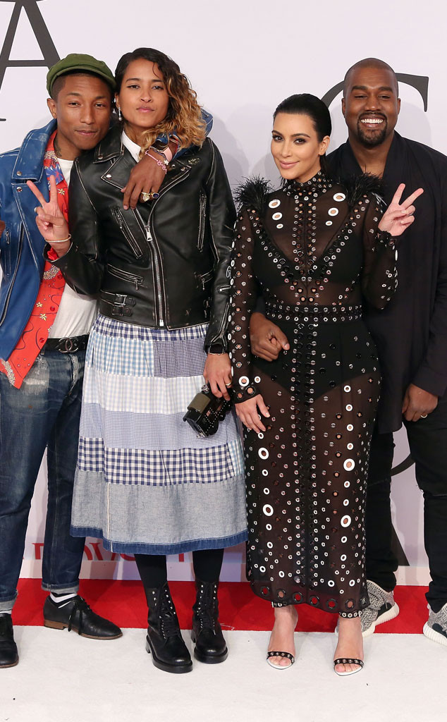 Pharrell Williams, Helen Lasichanh, Kim Kardashian West, Kanye West