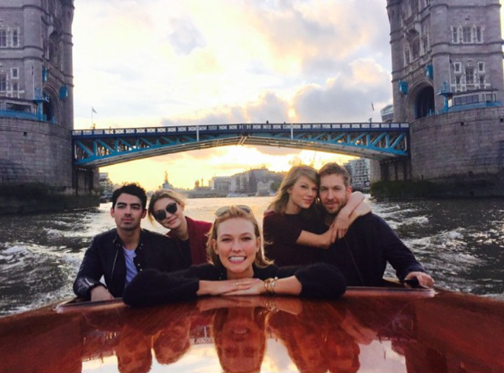 Joe Jonas, Gigi Hadid, Karlie Kloss, Taylor Swift, Calvin Harris, Instagram