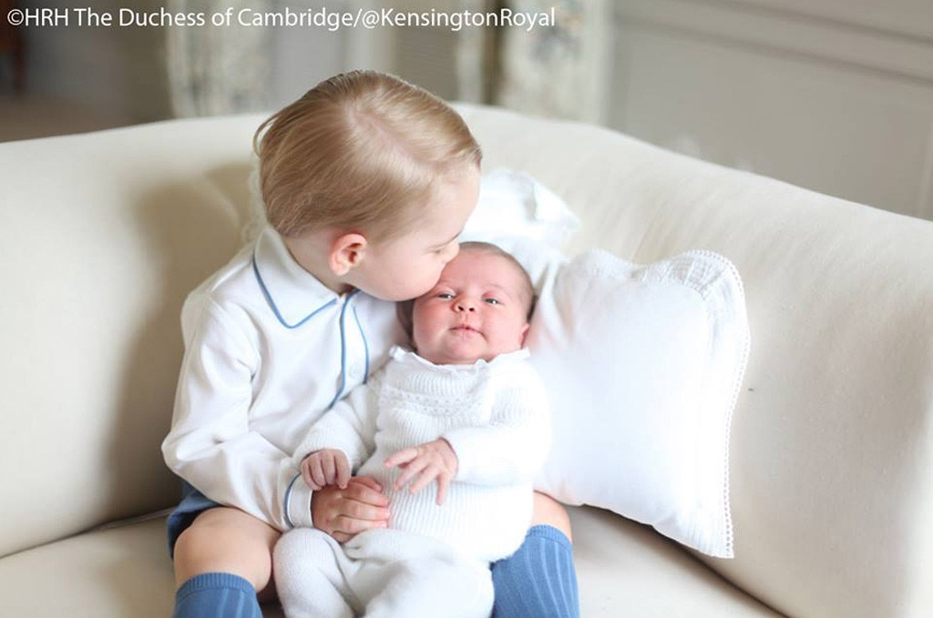 Princess Charlotte kisses new baby brother Prince Louis in adorable new photos