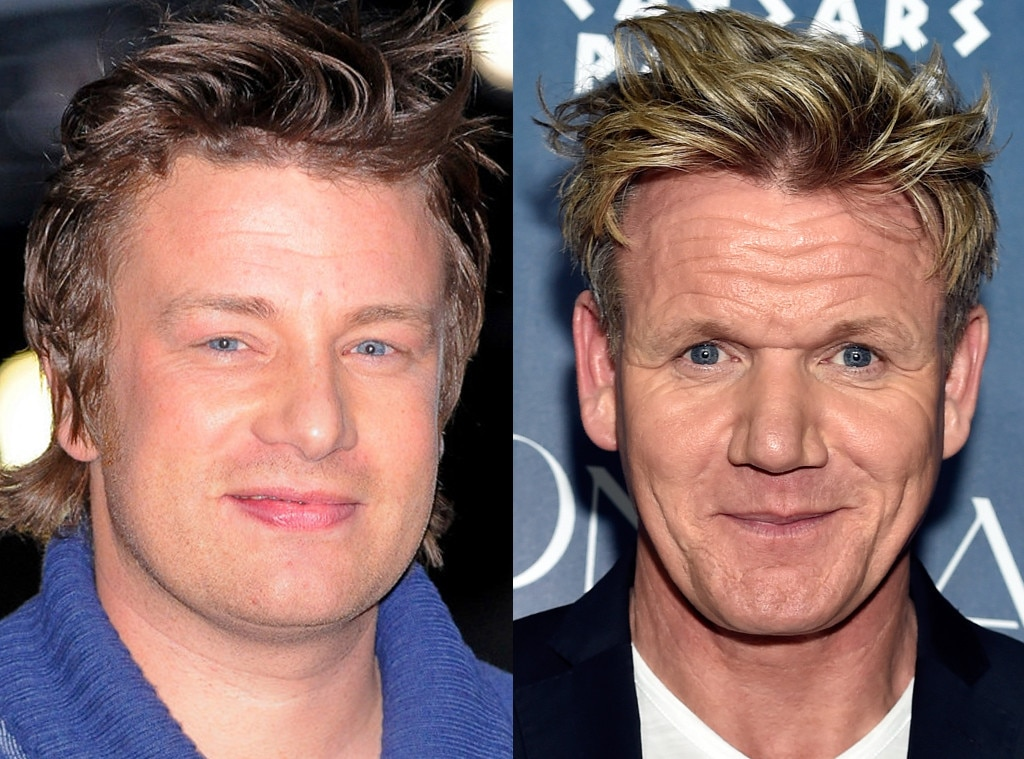 jamie oliver vs gordon ramsay from celeb food fights e news. Black Bedroom Furniture Sets. Home Design Ideas