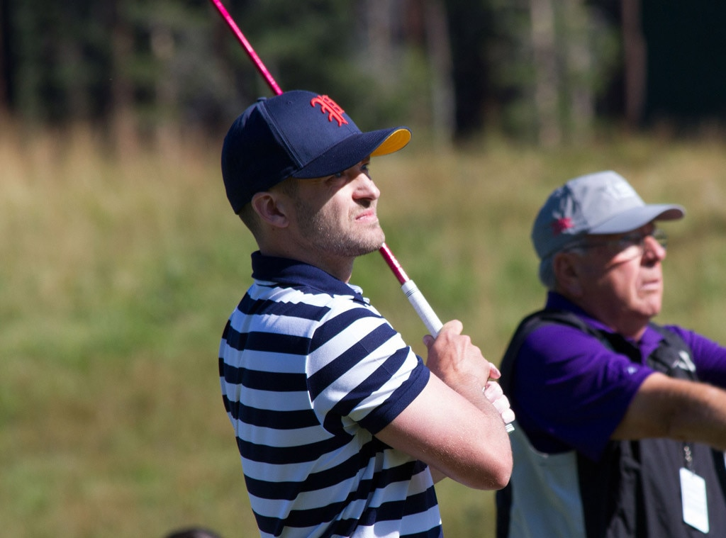 "Justin Timberlake -  JT ditches his ""Suit & Tie"" for a baseball hat and a polo for this celebrity golf tournament."
