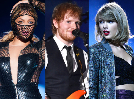 Taylor Swift, Ed Sheeran, Beyonce