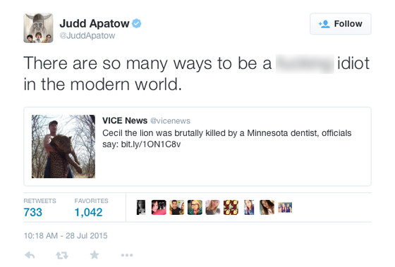 Judd Apatow, Cecil The Lion