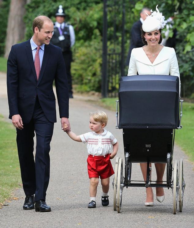 Catherine, Duchess of Cambridge, Prince William, Duke of Cambridge, Princess Charlotte of Cambridge, Prince George, Christening