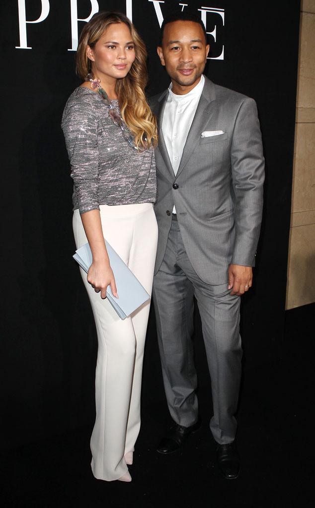 Chrissy Teigen, John Legend, Giorgio Armani Prive, Paris Fashion Week Haute Couture