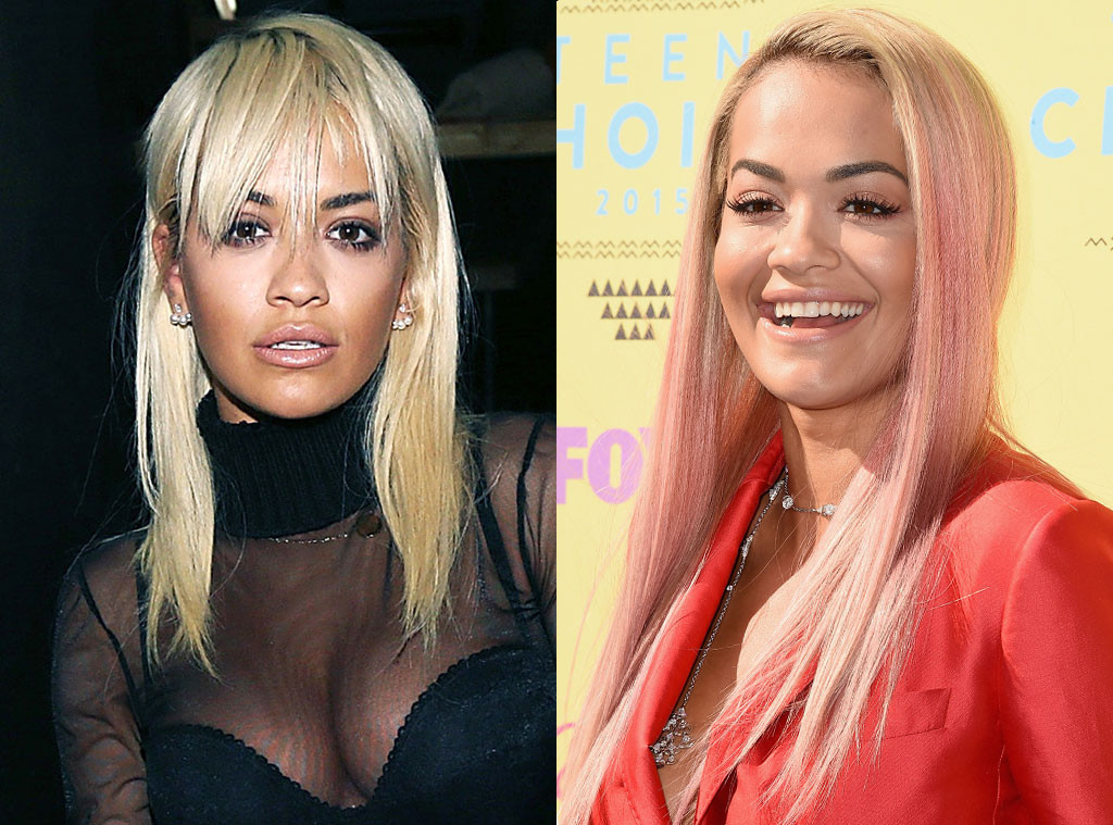 Rita Ora Hair Singer Dyes Her Blue Hair Yellow: Britney Spears Debuts Green & Purple Ombré At 2015 Teen