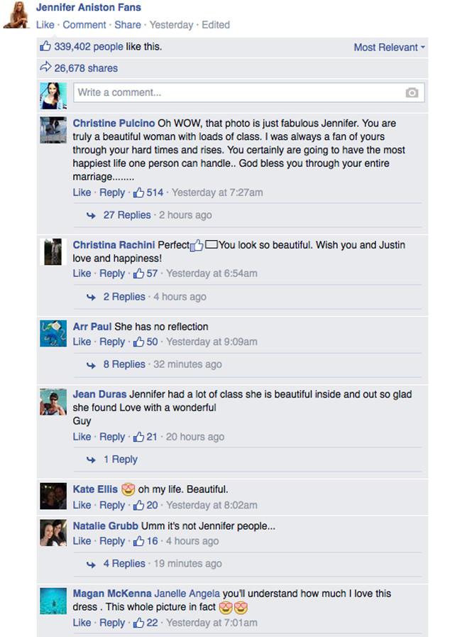 Jennifer Aniston Fans Facebook