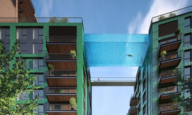 Prédios de luxo serão ligados por piscina suspensa de vidro em Londres