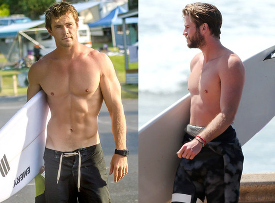 Liam Hemsworth, Chris Hemsworth, Shirtless