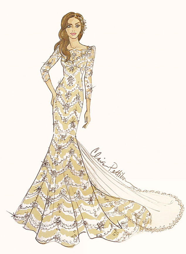 Brides Magazine, Ian Somerhalder, Nikki Reed, Dress Sketch