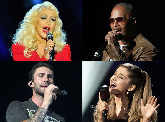Christina Aguilera, Jaime Fox, Ariana Grande, Adam Levine