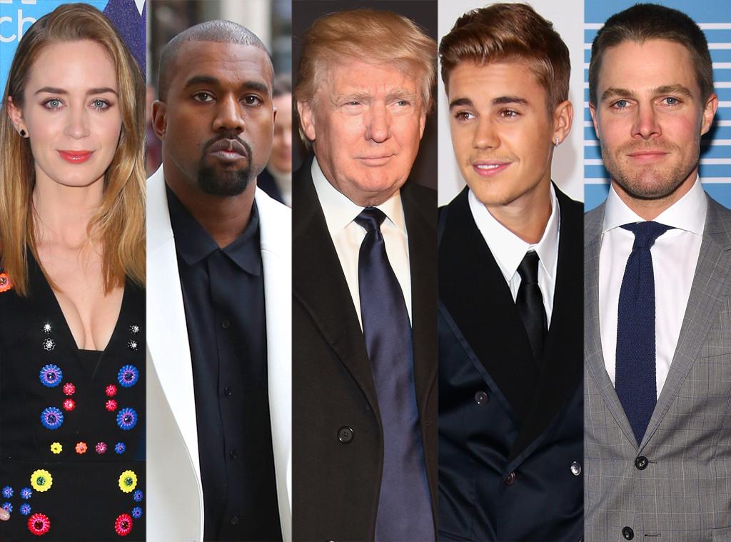 Emily Blunt, Kanye West, Donald Trump, Justin Bieber, Stephen Amell
