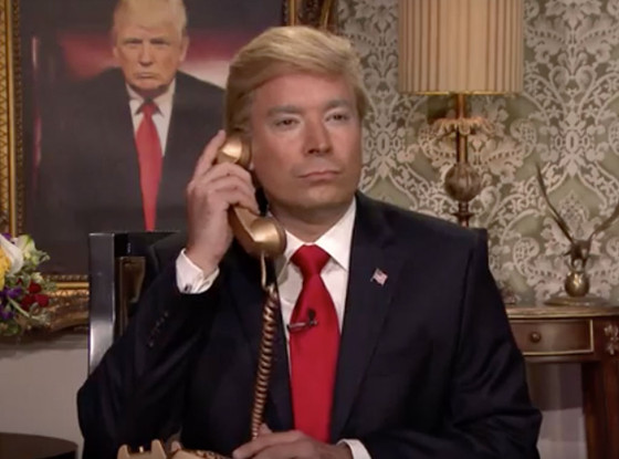Hillary Clinton and Jimmy Fallon as Donald Trump on The Tonight Show