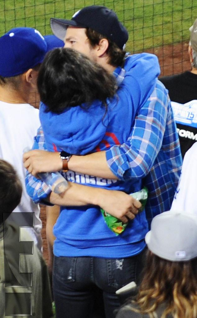 Mila Kunis, Ashton Kutcher, PDA, Dodgers Game, Exclusive