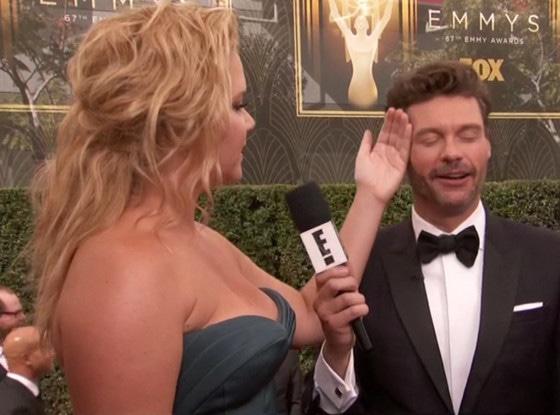 Amy Schumer, Ryan Seacrest, 2015 Emmys